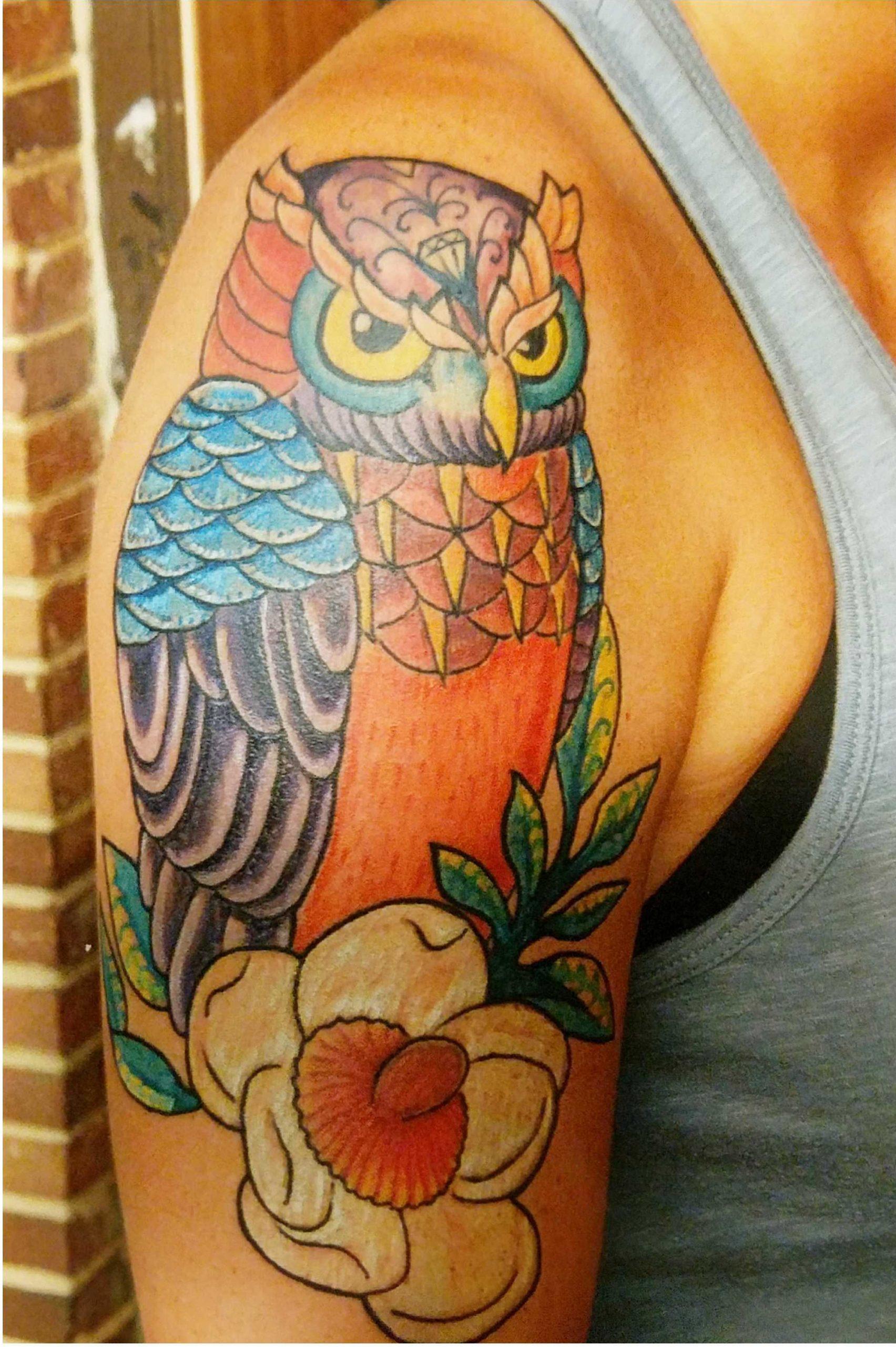 color owl tattoo sample
