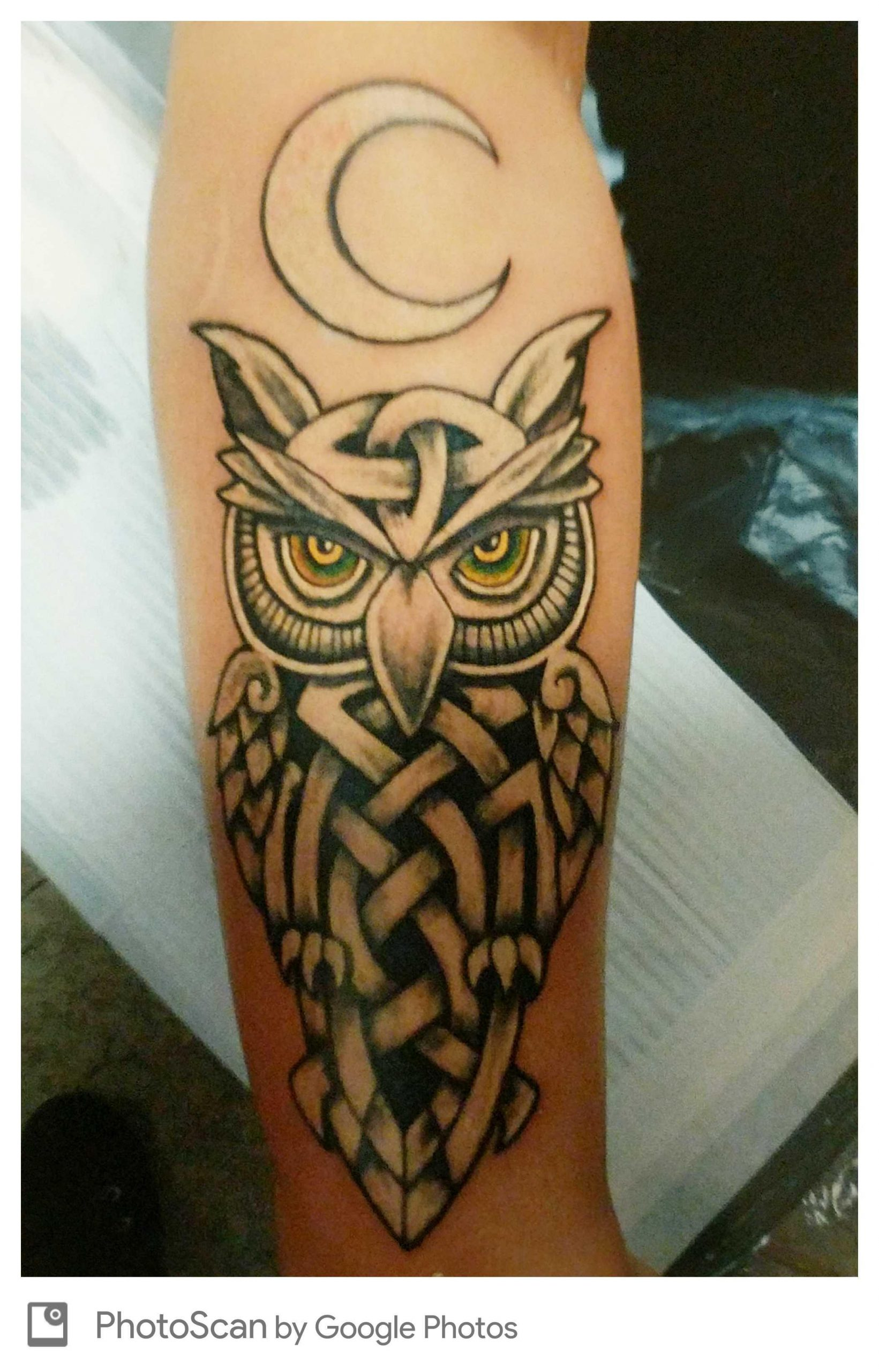 celtic owl tattoo by derek crockett